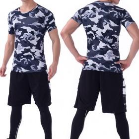 健身服三件套男套装速干短袖健身房跑步运动紧身衣套装