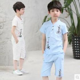 童装男童套装韩版十里桃花棉麻套装中大儿童两件套