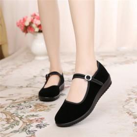 老北京布鞋女鞋平底单鞋休闲工作鞋女黑色软底跳舞女鞋