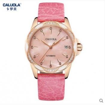 女士手表机械表镶钻钢带女表皮带时尚防水潮流腕表