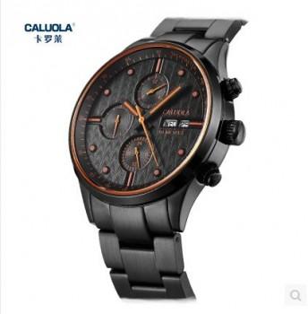 卡罗莱全自动机械表男表钢带黑色手表防水男士军表
