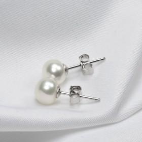 淡水珍珠耳钉925银白色馒头圆珍珠耳环扁圆耳饰送礼