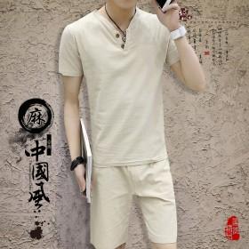夏季新款男士亚麻短袖套装-LYP