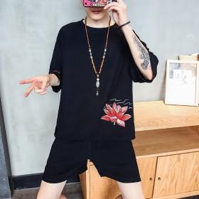 夏季中国风亚麻套装男加肥加大青少年绣花短袖T恤套装