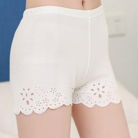 韩版女装黑色缕空短裤弹力大码高腰保险裤显瘦短裤潮女