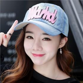 韩版刺绣字母牛仔棒球帽子女遮阳帽帽子清凉一夏