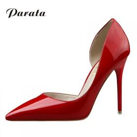 欧美时尚性感细跟镜面漆皮浅口尖头超高跟鞋 多色可选