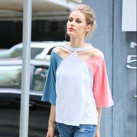 夏季女装新款大码全棉宽松个性交叉挂脖撞色袖