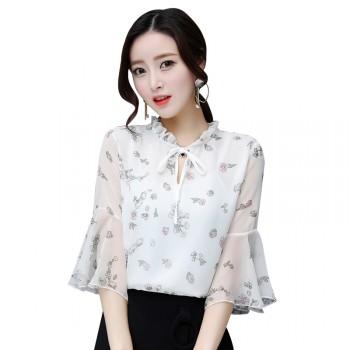 雪纺衫女短袖2017夏季新款碎花喇叭袖大码女装