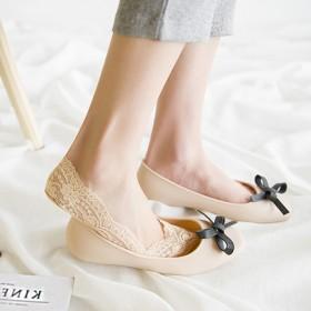 【4双装】优雅蕾丝隐形船袜女硅胶防滑高弹舒适棉短袜