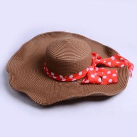 大草帽帽子女夏天韩版沙滩帽遮阳帽宽檐大檐草帽纯色帽