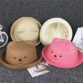 韩版亲子儿童帽子宝宝遮阳草帽春夏季出游女童太阳帽男
