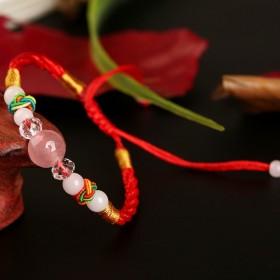 粉红水晶红绳手链女本命年保平安