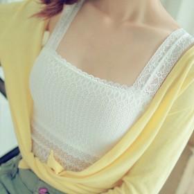 防走光甜美风情褶皱抹胸 韩版时尚百搭打底蕾丝花边