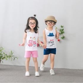夏季儿童背心套装纯棉男童女童中童无袖2件套