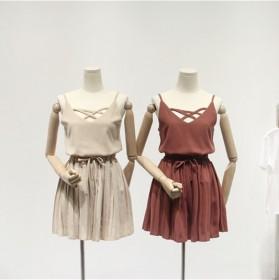 雪纺短裤套装女夏新款纯色性感吊带阔腿裤学院风两件套