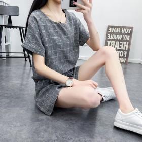 【套装】夏季新款百搭格子短袖T恤短裤一套!!