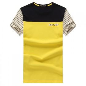 短袖T恤男圆领纯棉修身薄款拼色青少年个性潮流打底衫