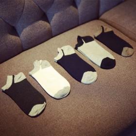 男士纯棉中筒袜透气防臭商务袜纯色袜子男短袜盒装5双