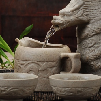 RX龙图腾养生粗陶品牌功夫茶具套装礼盒 半自动茶具