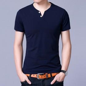 中年男士纯色V领短袖夏季纯棉薄款T恤