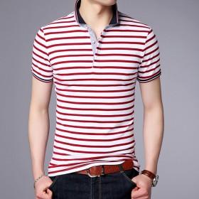 夏季新款翻领条纹T恤衫中年男士纯棉薄款短袖