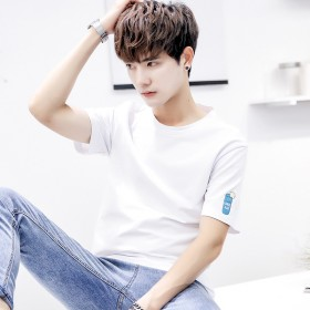 夏季男士t恤男五分袖韩版潮流学生半袖T恤