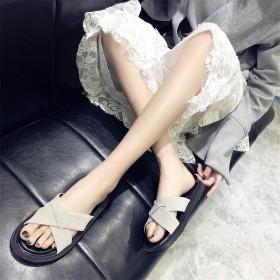 新款绒面防滑拖鞋女 露趾一字拖平跟软底舒适外穿凉拖