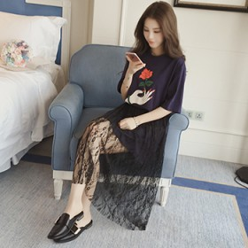 2017夏季新款女装韩版蕾丝半身裙两件套短袖T恤