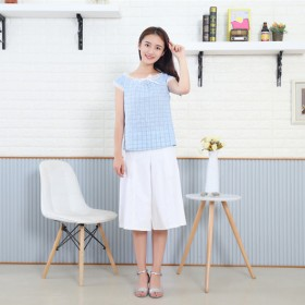 17夏季日系女装蕾丝圆领短袖上衣七分阔腿裤半身裙裤