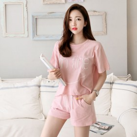 新款韩版宽松T恤大码套装女装字母短袖T恤短裤运动套