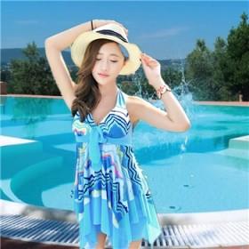 泳装聚拢钢托连体裙式泳衣80-125斤