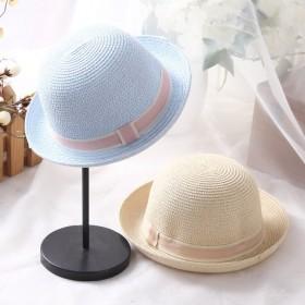 帽子女夏季纯色卷边圆顶礼帽韩版潮英伦爵士贴布盆帽