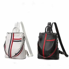 新款双肩包撞色条纹书包休闲两用单肩包欧美潮百搭