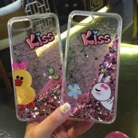 液体流沙苹果6s手机壳iphone7韩国卡通可爱