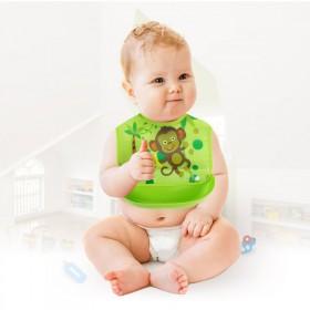 儿童宝宝吃饭围兜防水软塑料免洗婴小儿软食饭兜硅胶围