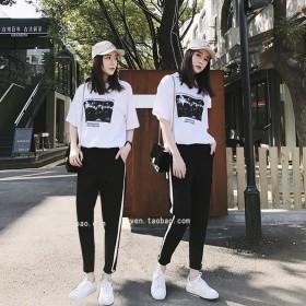 2017圆领短袖哈伦裤两件套运动休闲宽松显瘦女装潮