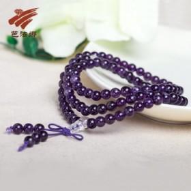 芭法娜天然紫水晶108颗佛珠手串_时尚简约深紫手链