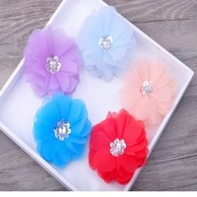 新娘手工头花沙滩花朵多层绢纱亮片花心发夹