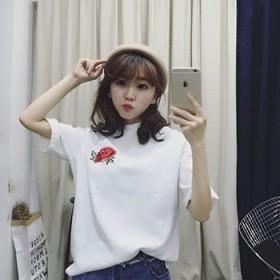 简风宽松圆领短袖纯色T恤女