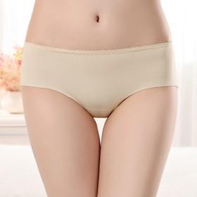 无痕内裤女士冰丝一片式性感中腰大码透气纯色棉裆三角