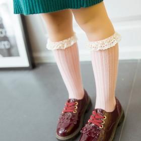 婴儿袜宝宝花边纯棉女童长筒袜
