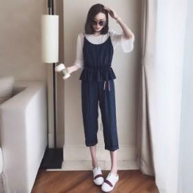 夏季新款女装韩版时尚休闲收腰小脚裤棉麻套装女两件套