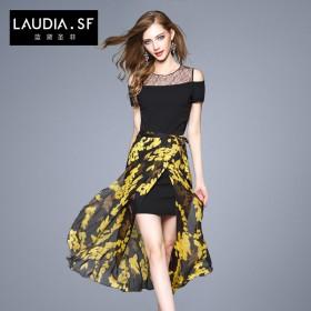 夏季新款时尚露肩修身碎花裙子印花两件套半身裙套装