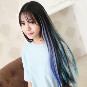 彩色假发女挑染假发片直发渐变色接发束一片式无痕发片