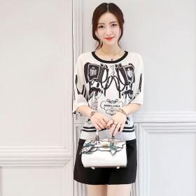 两件套女夏韩国圆领宽松显瘦雪纺上衣短裤时尚套装女