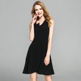 新品小黑裙修身拼接欧美女装优雅新款轻奢连衣裙
