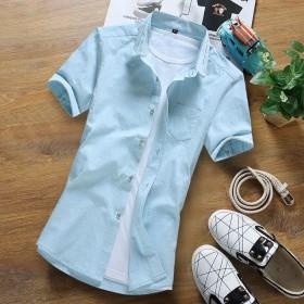 100%棉夏季纯棉短袖衬衫男全棉白衬衣修身薄青年