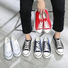 百搭鞋低帮平底鞋韩版纯色小白鞋休闲鞋经典帆布鞋