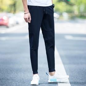 夏季男休闲裤男夏薄长裤运动裤拼接中腰束脚裤小脚卫裤